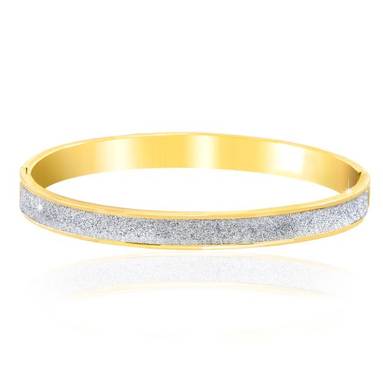 Imagen de BRASS 2-TONE GOLD & RHODIUM GLITTER OVAL SHAPED HINGE BANGLE