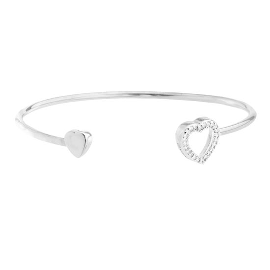 Picture of Brass Cubic Zirconia Heart Ends Cuff Bangle