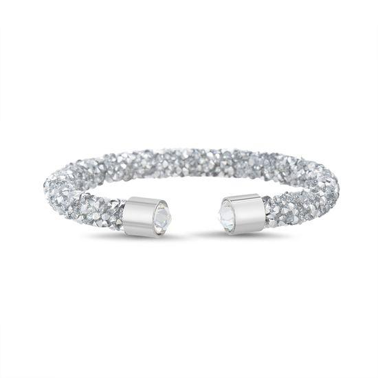 Imagen de Silver-Tone Brass Wrapped Mirror Silver Crystal Open Cuff Bangle