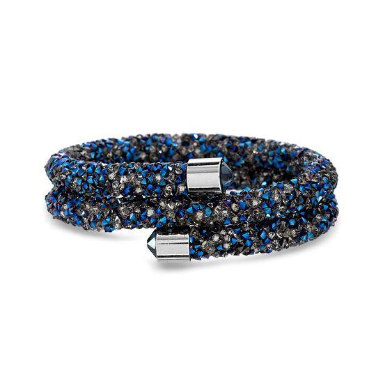 Imagen de Silver-Tone Brass Blue Crystal Coil Wrap Bracelet