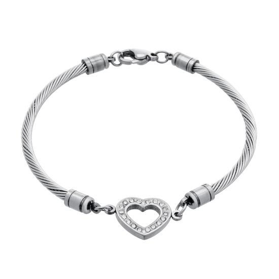 Imagen de Silver-Tone Stainless Steel Cubic Zirconia Open Heart Charm Twisted Cable Chain Bracelet