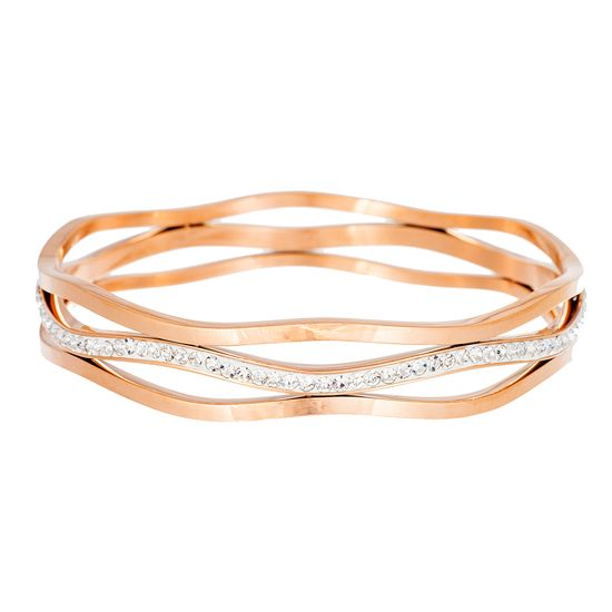 Imagen de Rose-Gold Stainless Steel Cubic Zirconia 3 Layer Swirly Lines Bangle
