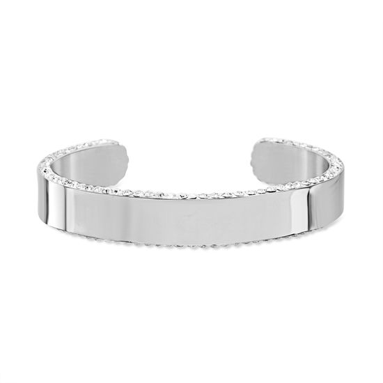 Imagen de Silver-Tone Stainless Steel Polished Cubic Zirconia Edge Cuff Bangle