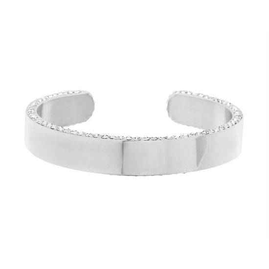 Picture of Silver-Tone Stainless Steel Polished Cubic Zirconia Edge Cuff Bangle