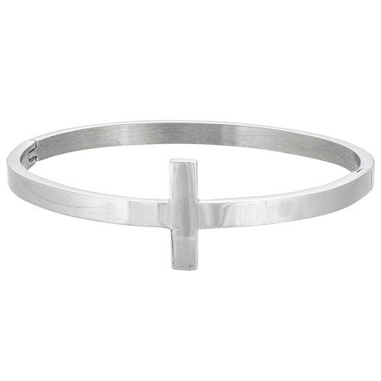 Imagen de Silver-Tone Stainless Steel Polished Cross Hinge Bangle