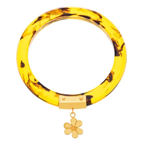 Imagen de Gold-Tone Stainless Steel Flower Charm Multicolored Bangle