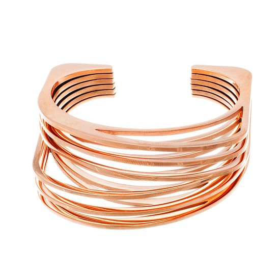 Imagen de Rose-Tone Stainless Steel Multi-Row Open Cuff Bangle