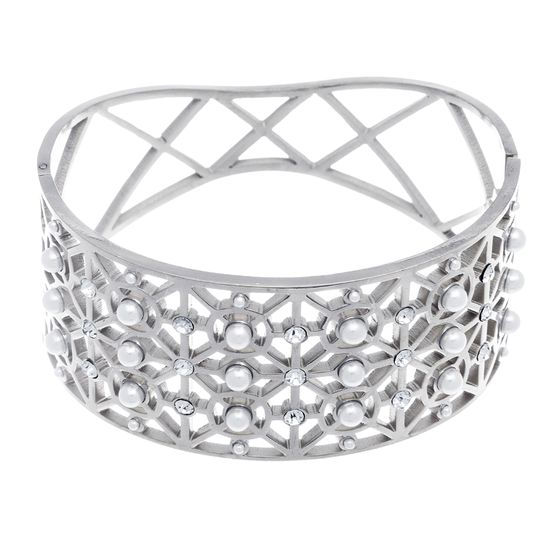 Imagen de Silver-Tone Stainless Steel Cubic Zirconia and Freshwater Pearl Design Multiple Cut Outs Hinge Bracelet