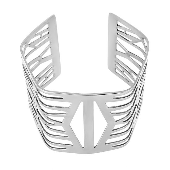 Imagen de Silver-Tone Stainless Steel Polished Geo Cut Out Detail Bangle
