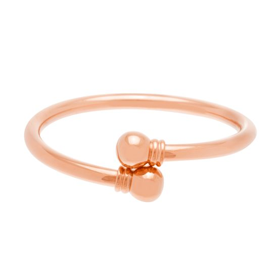 Imagen de Rose-Tone Stainless Steel Polish Thick Bypass Slip-on Bangle