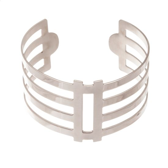 Imagen de Silver Tone Stainless Steel Polished Geo Cut Out Cuff Bangle