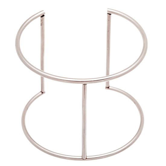 Imagen de Silver-Tone Stainless Steel Double Strand Cuff Bangle