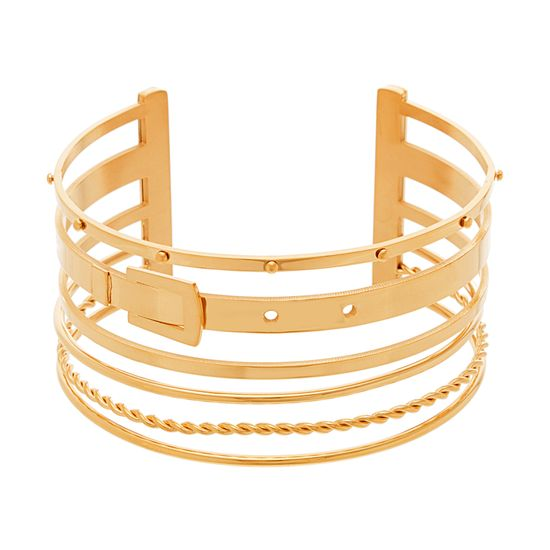 Imagen de Gold-Tone Stainless Steel Gold Belt And Multi Chain Cuff Bangle