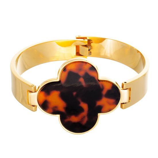Imagen de Gold-Tone Stainless Steel Tortoise Shell Clover Charm Hinge Bangle