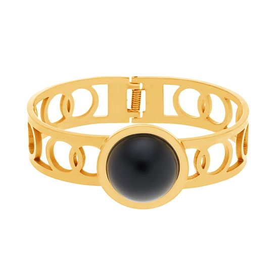 Imagen de Gold-Tone Stainless Steel With Round Black Center Hinge Bangle
