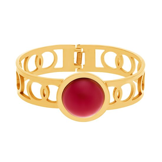 Imagen de Gold-Tone Stainless Steel Gold With Round Red Center Hinge Bangle