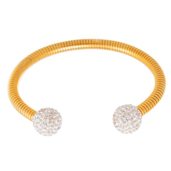Imagen de Gold-Tone Stainless Steel Cubic Zirconia Ball Ends Open Cuff Bangle