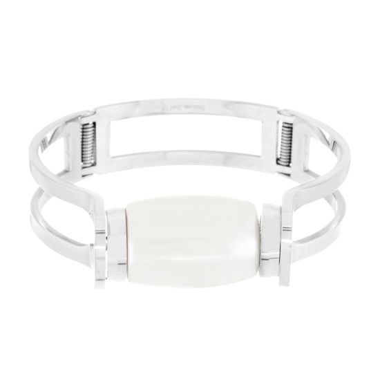 Imagen de Silver-Tone Stainless Steel Oval Pearl Bangle