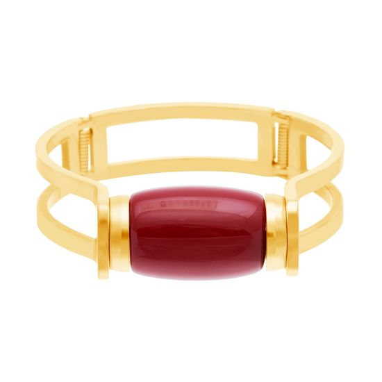 Imagen de Gold-Tone Stainless Steel Oval Red Freshwater Pearl Double Strand Bangle