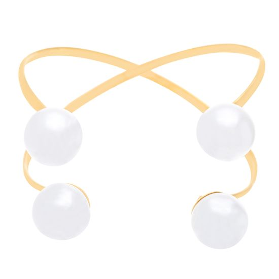 Imagen de Gold-Tone Stainless Steel Pearl Ends Criss Cross Design Cuff Bangle