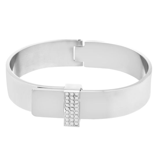 Imagen de Silver-Tone Stainless Steel Triple Row Cubic Zirconia Buckle Hinge Bangle