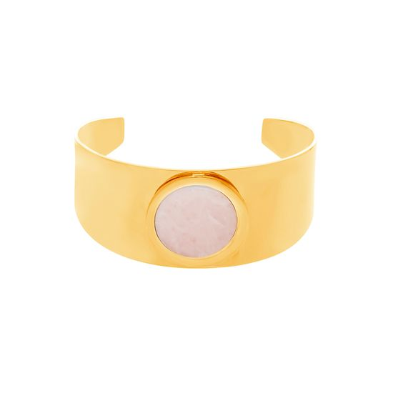 Picture of Gold-Tone Stainless Steel Center Flat Rose Quartz Wide Band Open Cuff Bangle