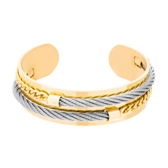 Imagen de Gold-Tone Stainless Steel Grey Twisted Cord & Curb Chain Cuff Bangle