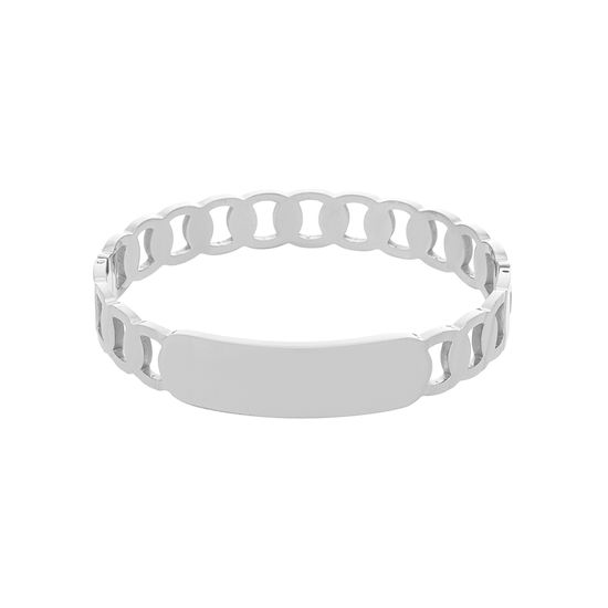 Imagen de Silver-Tone Stainless Steel Interlock Rings and Plate Center Bangle