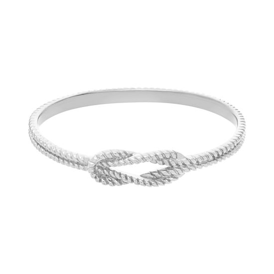 Imagen de Silver-Tone Stainless Steel Center Knot Loop Slip-On Bangle
