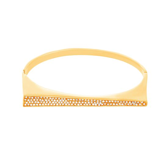 Imagen de Gold-Tone Stainless Steel Graduated Cubic Zirconia Bar Bangle