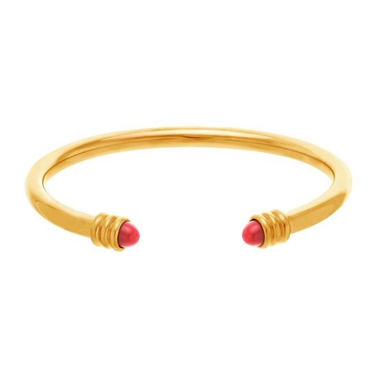 Imagen de Gold-Tone Stainless Steel Cubic Zirconia Red Stone Ends Cuff Bangle