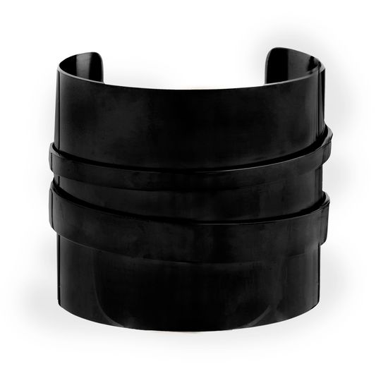 Imagen de Black-Tone Stainless Steel Wide Cuff Bangle