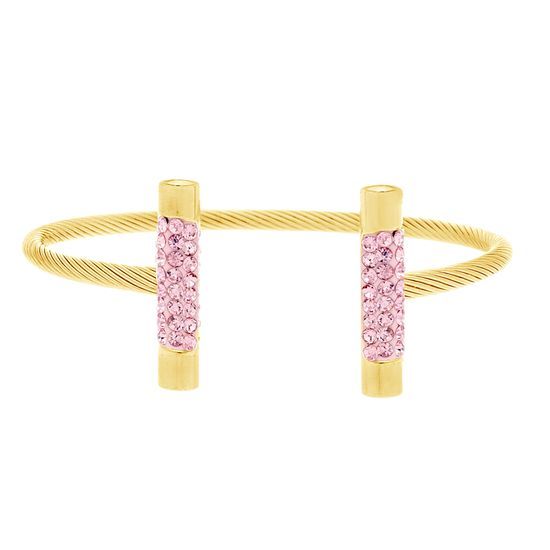 Imagen de Gold-Tone Stainless Steel Pink Cubic Zirconia Bar Ends Twisted Wire Cuff Bangle