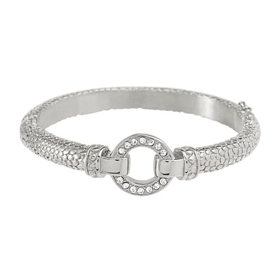 Imagen de Silver-Tone Stainless Steel Cubic Zirconia Open Circle Bangle