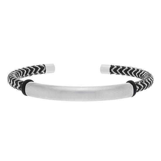 Imagen de Silver Tone Stainless Steel Oxidized Bar Cuff Bangle