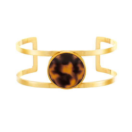 Picture of Gold-Tone Stainless Steel Tortoise Shell Open Cuff Bangle