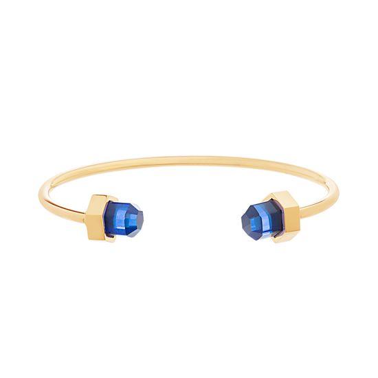 Imagen de Gold Tone Stainless Steel Royal Blue Crystal Cylinder Ends Cuff Bangle