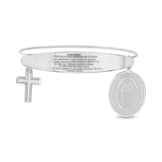 Imagen de Silver-Tone Stainless Steel Religious Oval Medal/Cross Prayer Charm Wire Design Adjustable Bangle