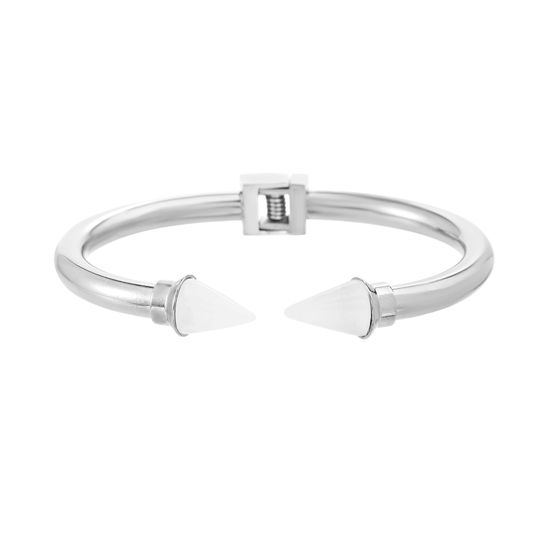 Imagen de Silver-Tone Stainless Steel Cloudy Crystal Spike Endcaps  6 Open Cuff Hinge Bangle