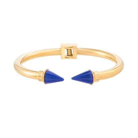 Imagen de Gold-Tone Stainless Steel Royal Blue Crystal Spike Endcaps  6 Open Cuff Hinge Bangle