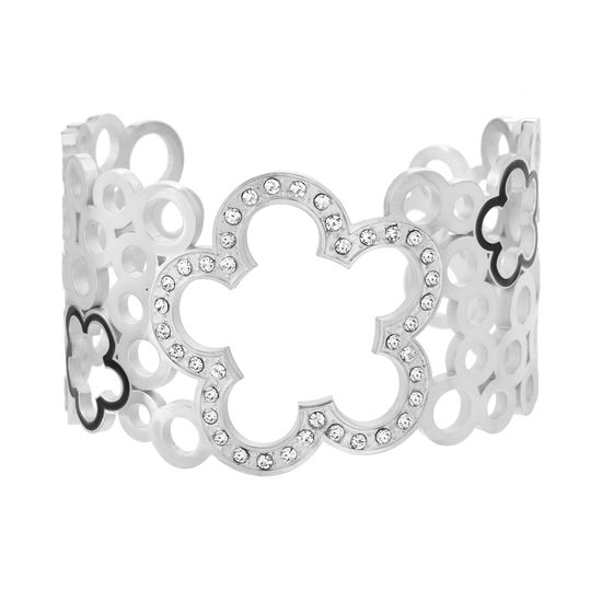 Imagen de Silver-Tone Stainless Steel Cubic Zirconia Flower and Circle Cutouts Open Cuff Bangle