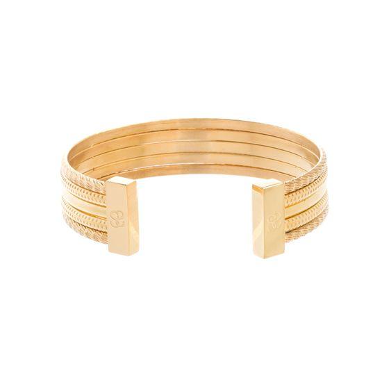 Imagen de STAINLESS STEEL GOLD IP TEXTURED DESIGN CUFF BANGLE