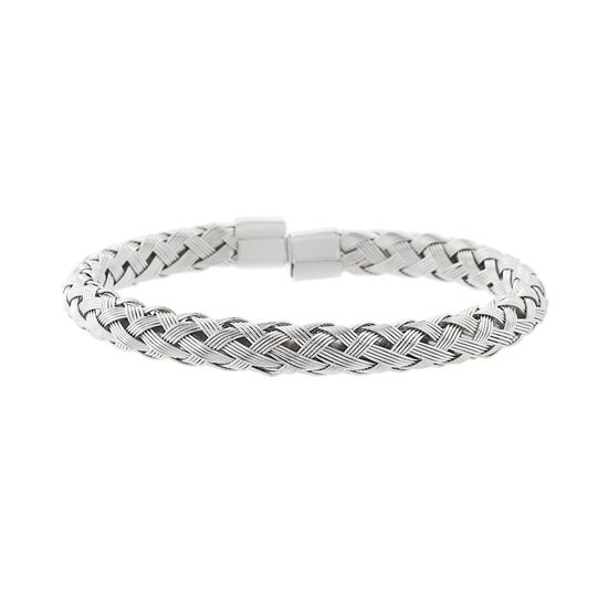 Imagen de Silver-Tone Stainless Steel Braided Design Cuff Bangle