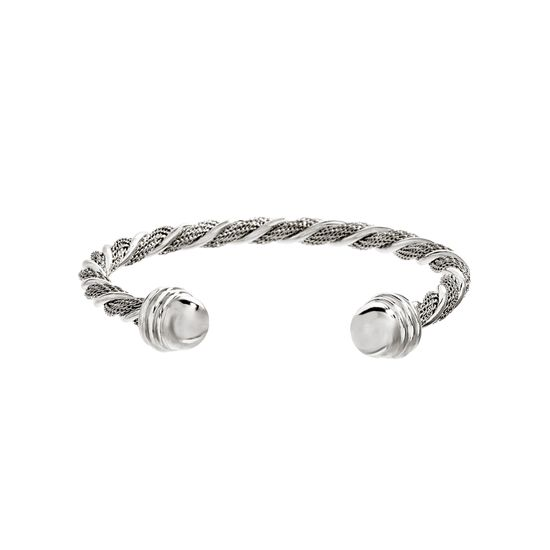 Imagen de Silver-Tone Stainless Steel Twisted Design Bangle