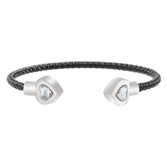 Imagen de Faceted Crystal Heart Ends Black Cord Bangle in Stainless Steel