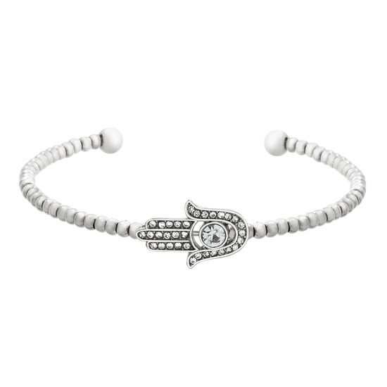 Imagen de Faceted Crystal Beaded Hamsa Cuff Bangle in Stainless Steel
