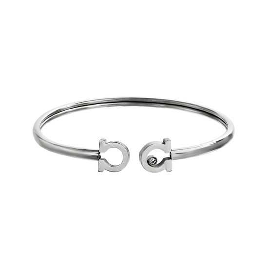 Imagen de Silver-Tone Stainless Steel Crystal C Ends Cuff Bangle
