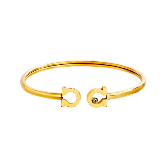 Imagen de Gold-Tone Stainless Steel Crystal C Ends Cuff Bangle