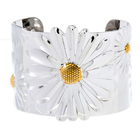 Imagen de Two-Tone Stainless Steel Wide Open Flower Design Bangle