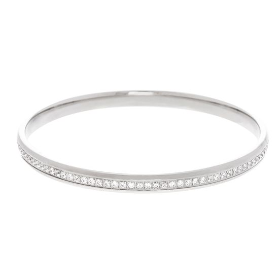 Imagen de Silver-Tone Stainless Steel Crystal Eternity Band Slip-On Bangle
